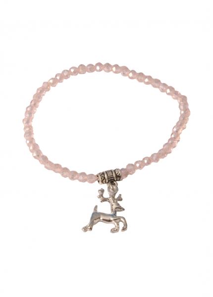 Trachten Armband Pinzberg Kristall Hirsch rosa rose Wolkenweiß