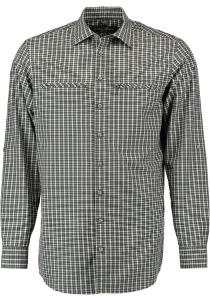 Trachtenhemd Forstenrode dunkelgrün Krempelarm Regular Fit OS Trachten