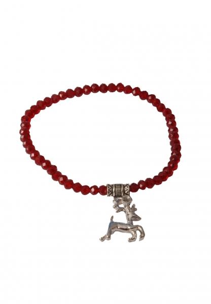 Trachten Armband Pinzberg Kristall Hirsch dunkelrot rot Wolkenweiß