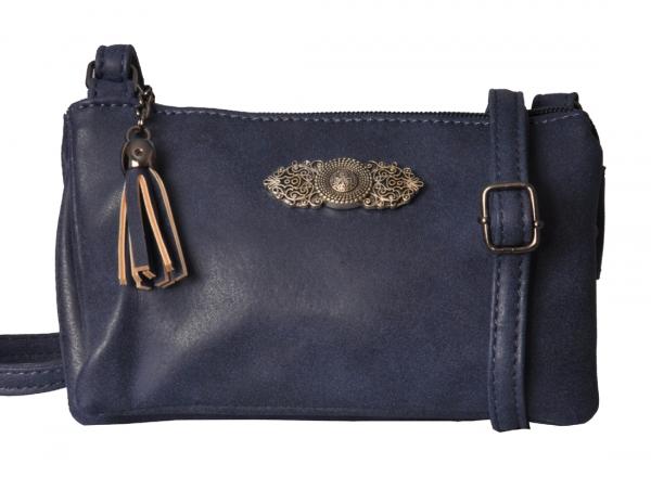 Trachtentasche Dirndltasche Ortenburg blau dunkelblau Wolkenweis