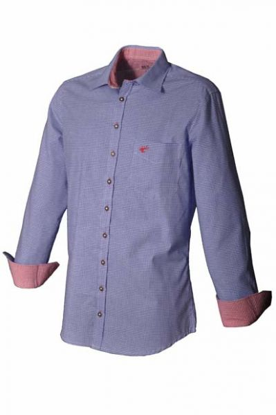 Trachtenhemd Paul blau Karo Krempelarm OS Trachten