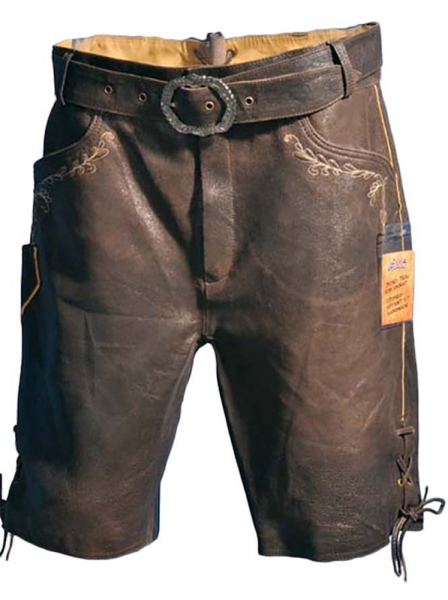 Lederhose Trachtenhose mit Reißverschluß kurz Theobald braun Lekra Ziege