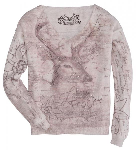 Trachten Pullover Buchloe sand Alva offwhite Hirsch- und Edelweiß-Motive Hangowear