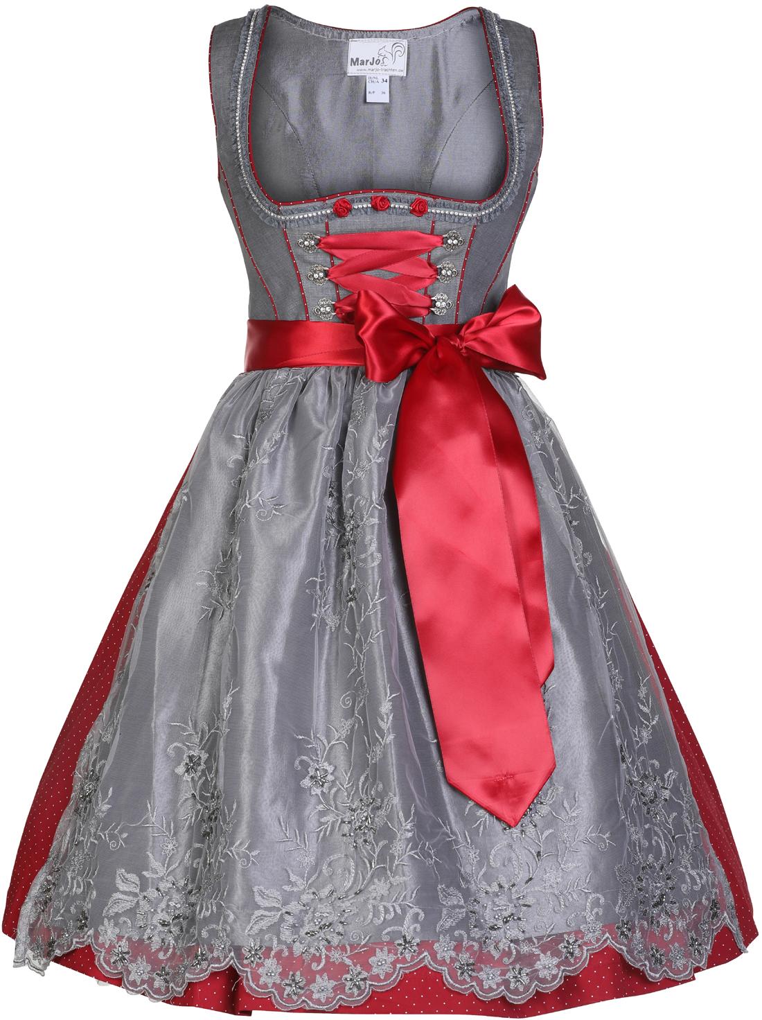 49e0d229a6d1e5 Dirndl midi 65 cm Theamarie grau/rot Marjo   Dirndl midi von 60 – 70 cm    Damen   Trachtenoutlet-xxl.de