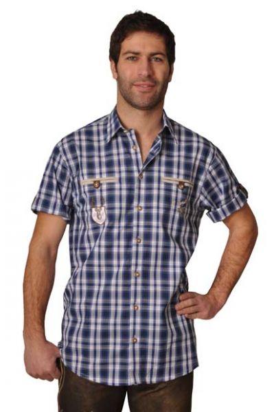Trachtenhemd Magnus blau Karo Kurzarm OS Trachten
