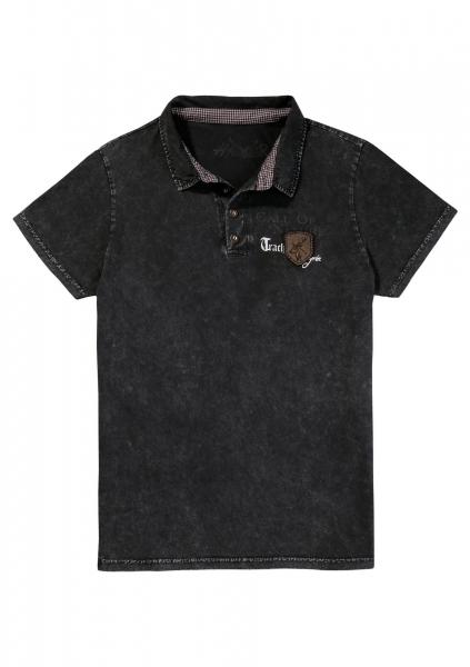 B-Ware / 2. Wahl - Trachtenshirt Dirk blau oilwashed Hangowear