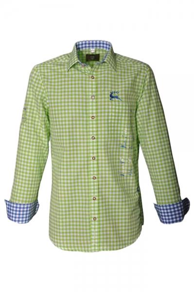 Trachtenhemd Gerald giftgrün Karo Langarm OS Trachten