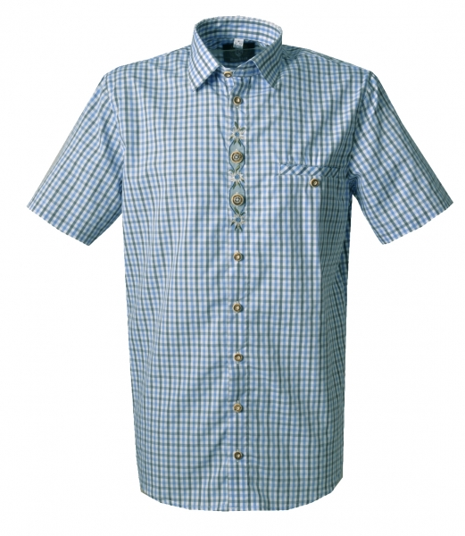 Trachtenhemd Sontheim blau grau Karo Kurzarm Regular Fit OS Trachten