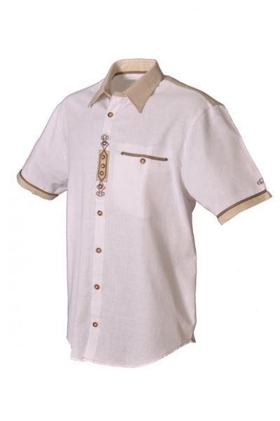 Trachtenhemd Laron weiß kurzarm OS Trachten