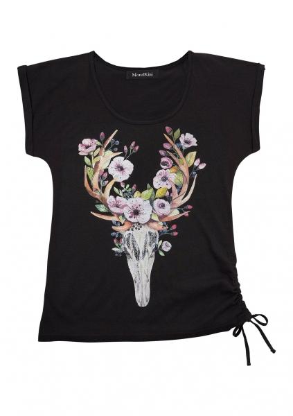 Trachten T-Shirt Mömbris schwarz Hirsch- und Blumenmotiv Mondkini