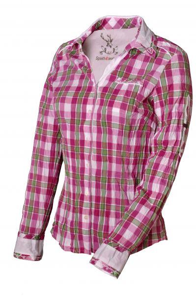 Trachtenbluse Wacholder pink/grün Karo Spieth & Wensky