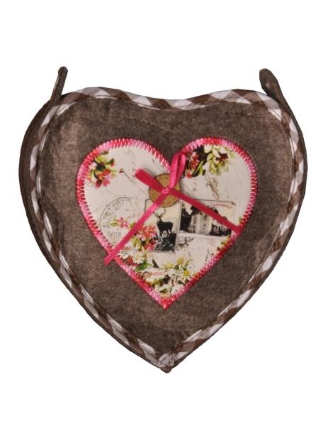 Dirndltasche Trachtentasche Herz braun stein Stockerpoint