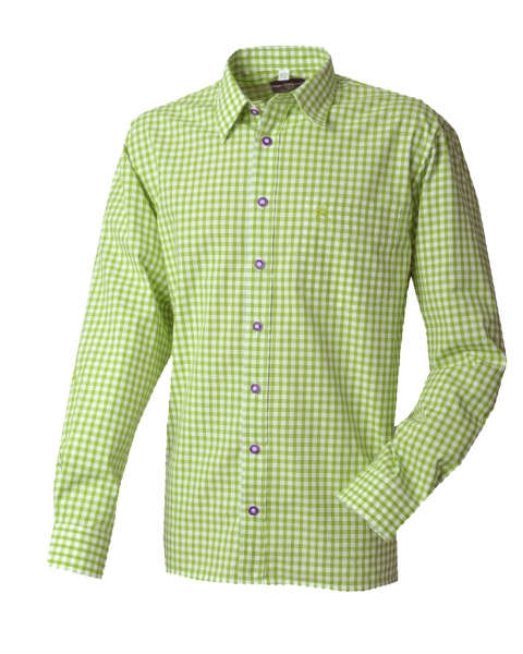 Trachtenhemd Lutzingen grün giftgrün Karo Langarm v. OS Trachten