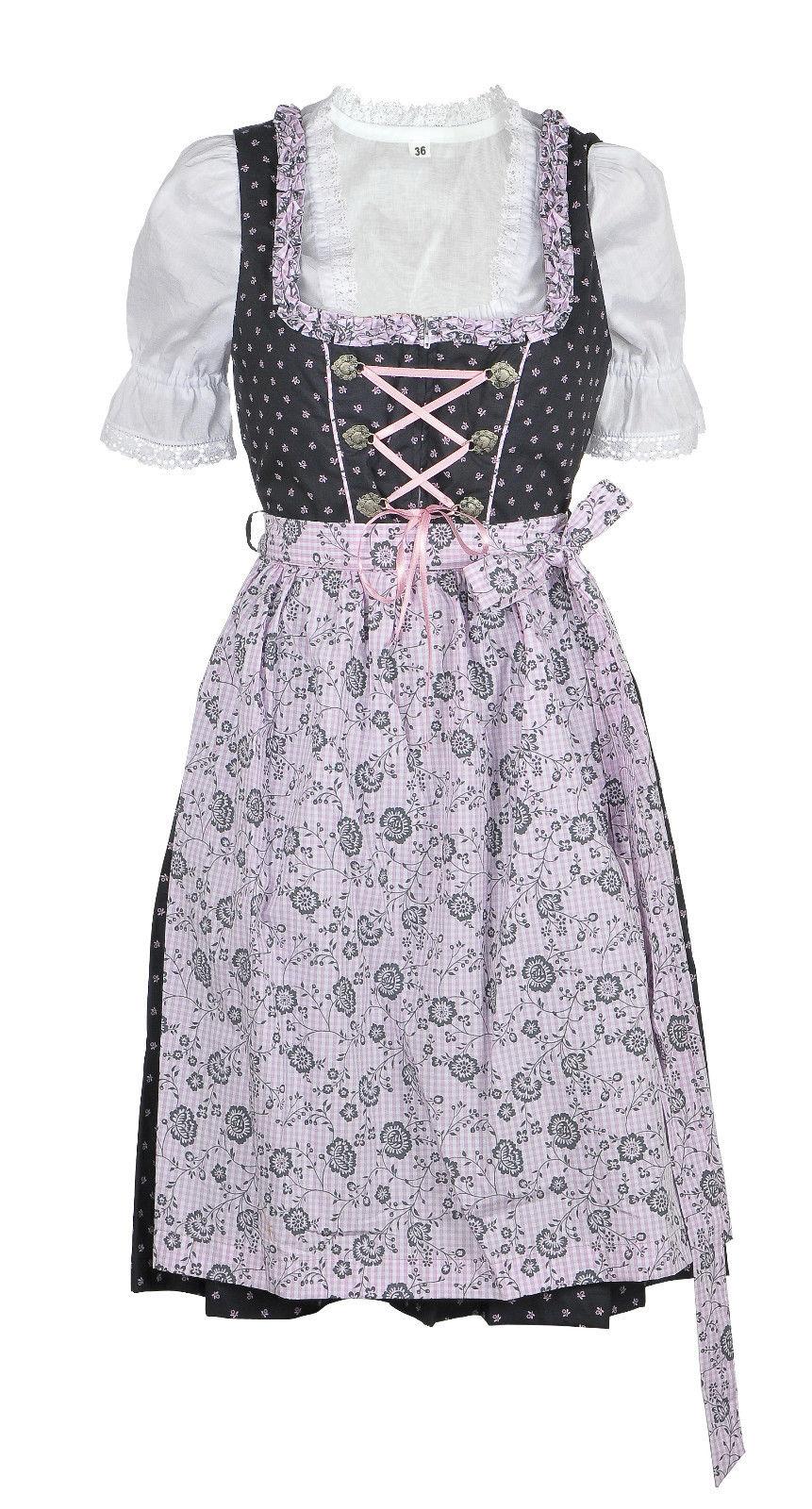 31248a267128c4 Dirndl midi 60 cm Schöngeising dunkelgrau grau rosa Trachtenset 3-tlg.   Dirndl  midi von 60 – 70 cm   Damen   Trachtenoutlet-xxl.de