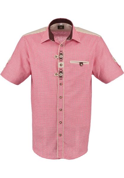 Trachtenhemd Sonnefeld Kurzarm rot OS-Trachten