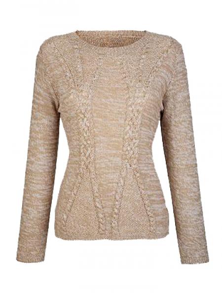Trachten Pullover Aicha beige meliert Zopfmuster