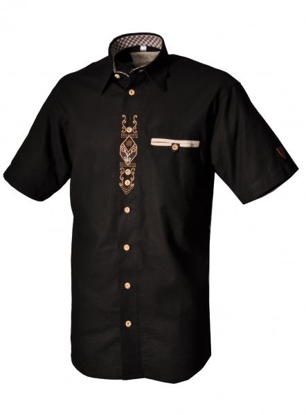 Trachtenhemd Birgland schwarz Kurzarm OS Trachten