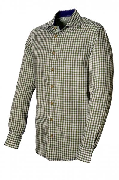 Trachtenhemd Burgthann khaki/schlamm Karo Slim Fit Langarm OS Trachten