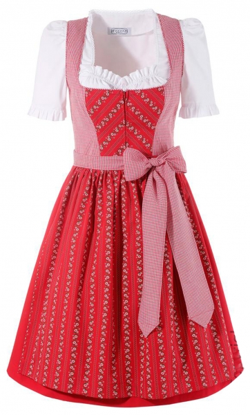 Dirndl midi 60 cm Amerdingen rot Trachtenset 3-tlg. Hannah Collection