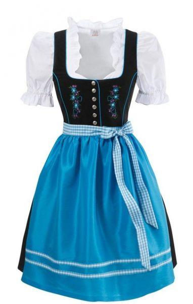 Dirndl mini 58 cm Bibertal blau schwarz Set 3-tlg. Naber Collection