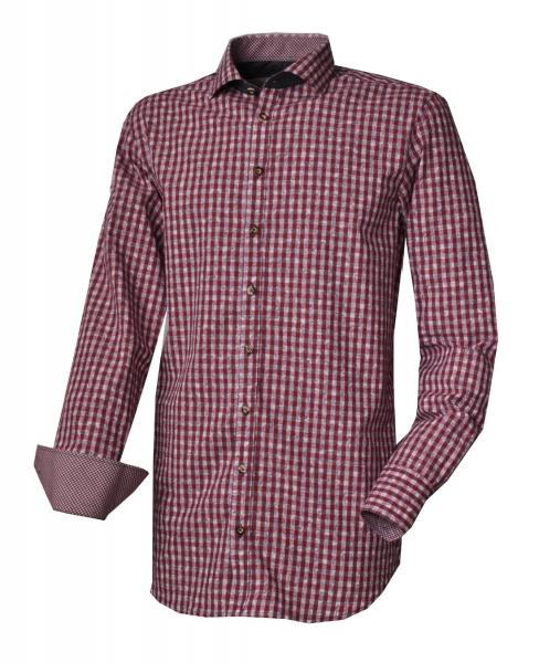 Trachtenhemd Königsmoos mittelrot rot Karo Slim Fit Langarm OS Trachten