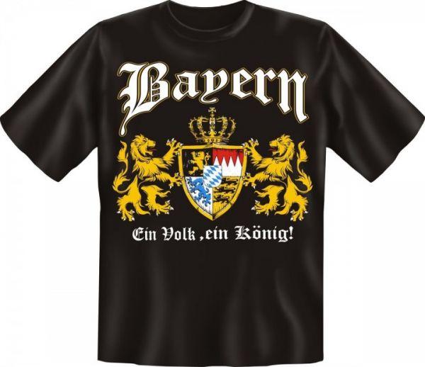'Trachtenshirt Wappen Bayern Ein Volk, ein König! schwarz T-Shirt