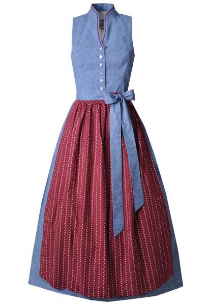 Dirndl lang 85 cm Fiona blau rot Turi Landhaus