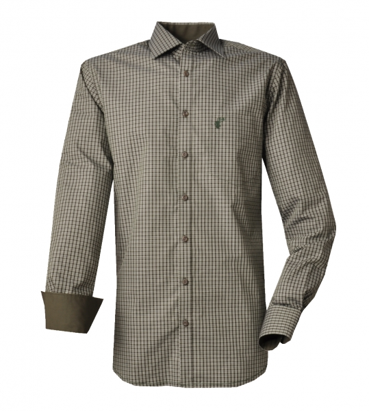 Trachtenhemd Zell oliv grün Langarm Regular Fit OS Trachten