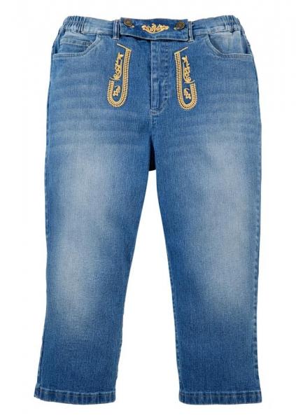 Trachtenjeans Brunnthal blau Jeans-3/4 Hose Stretch Naber