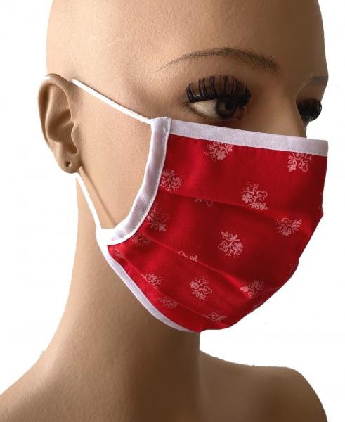 DIRNDL Stoffmaske Mund- und Nasenbehelfsmaske rot Trachtendesign