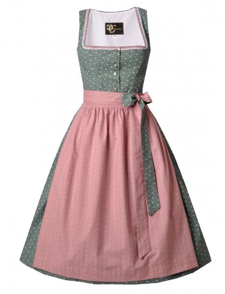 Dirndl midi 70 cm Designerdirndl Babsi grün rosa Trachten Deiser