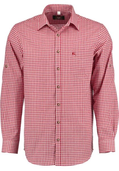 Trachtenhemd Hauslehen rot Karo Langarm Regular Fit OS Trachten