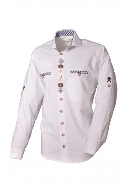 Trachtenhemd Wolferstadt weiß blau Langarm OS-Trachten ... ca8b1fb93a