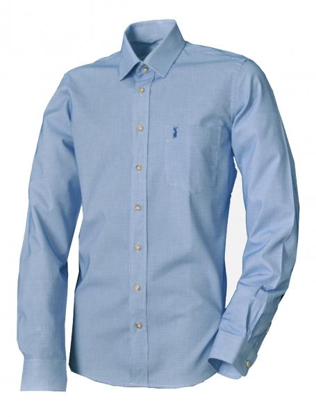 Trachtenhemd Wirsberg blau Langarm Slim Fit Almsach