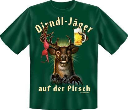 Trachtenshirt Dirndl-Jäger auf der Pirsch grün T-Shirt
