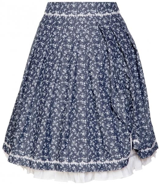 Trachtenrock Elina 58 cm blau weiß geblümt Marjo