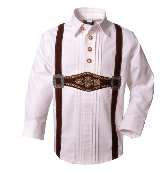 Kinder Trachtenhemd Pliening weiß Schlupfhemd Langarm Biesen OS Trachten