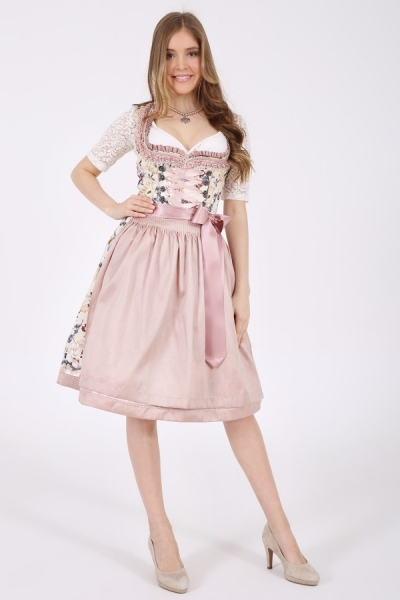 Dirndl midi 60 cm Evie creme mit Blumenprint rosa Krüger