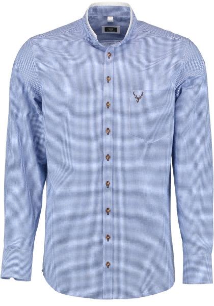Trachtenhemd Hettenkofen blau mittelblau Langarm Slim Fit OS Trachten