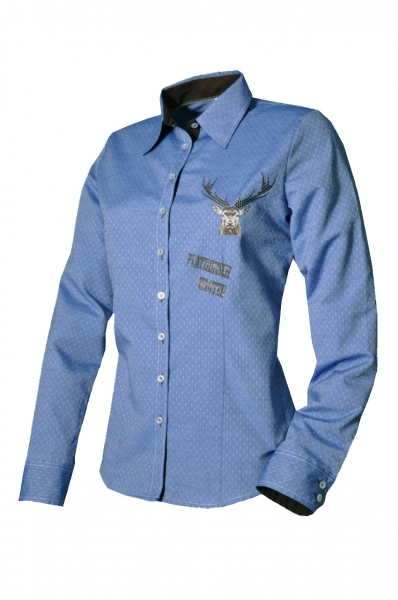 Trachtenbluse Naila jeansblau Langarm OS Trachten