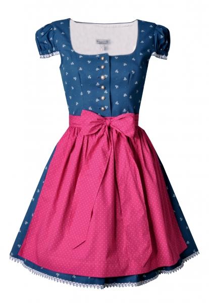Dirndl mini hochgeschlossen Kurzarm 50 cm Urspringen blau pink Hannah