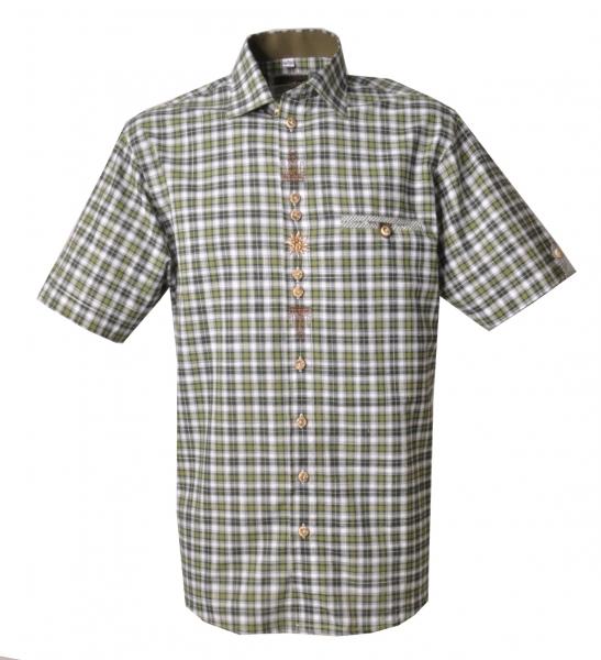 Trachtenhemd Wallenhofen karo trachtengrün Kurzarm OS Trachten
