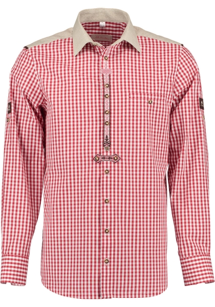 Trachtenhemd Haardt rot Krempelarm OS-Trachten