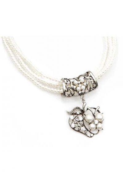 Dirndlkette Trachten Perlenkette Herzapfel weiß/silberf.