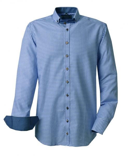 Trachtenhemd Altenkunstadt blau Karo Gipfelstürmer Langarm Slim Fit OS Trachten