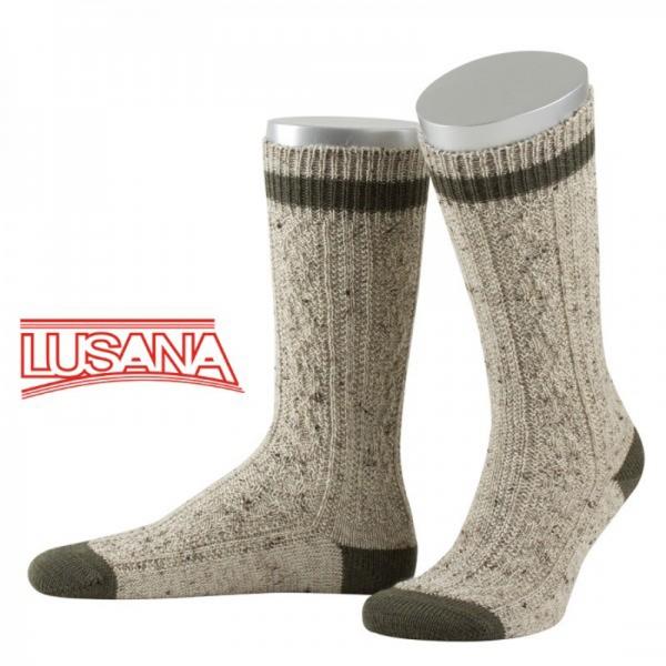 Schopper Trachtensocken Engelsberg Loden-Tweed beigemeliert/oliv Lusana