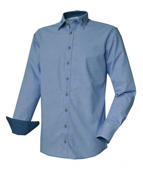 Trachtenhemd Königsdorf blau Karo Slim Fit Langarm OS Trachten