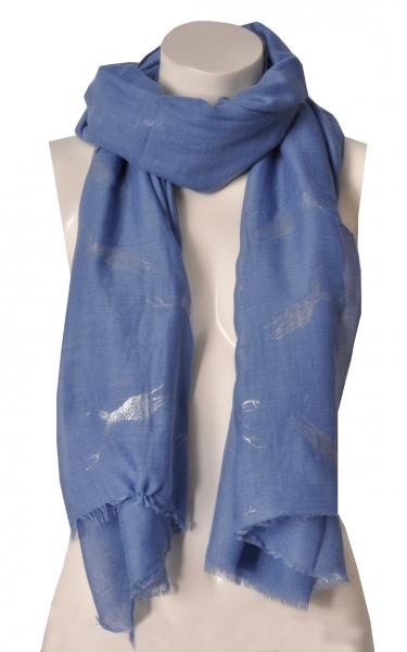 Trachtenschal hellblau Glitzerhirsch Wolkenweis