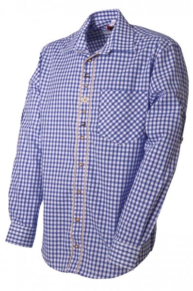Trachtenhemd Megesheim blau/weiß OS Trachten