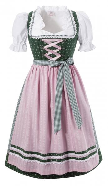 B-Ware / 2. Wahl - Dirndl midi 70 cm Isgier grün rosa Trachtenset 3-tlg. Naber Collection